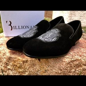 f88db2ba346 Billionaire Shoes - Billionaire Loafers Black Suede Embroidered Size 8
